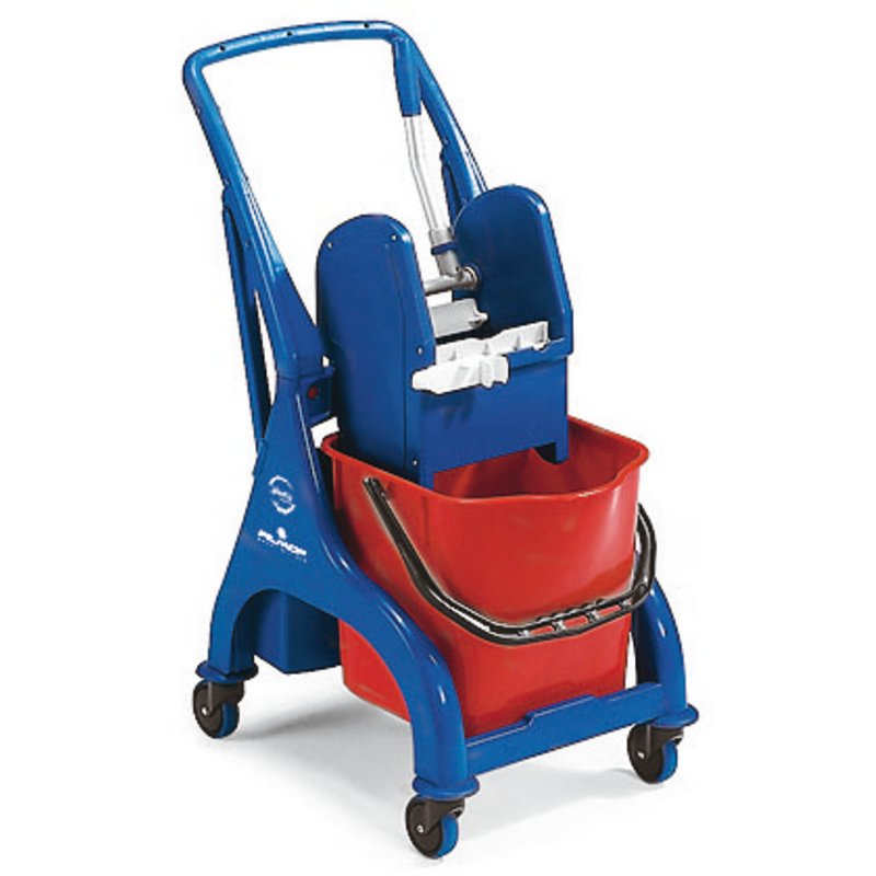Floor cleaning trolley with 2 buckets