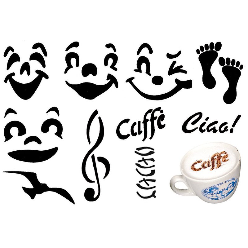 Mini stencils cappuccino, set 10 pcs - Bar
